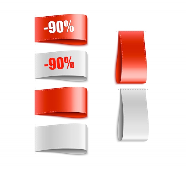Kledinglabels. doek tag. speciale aanbieding Premium Vector