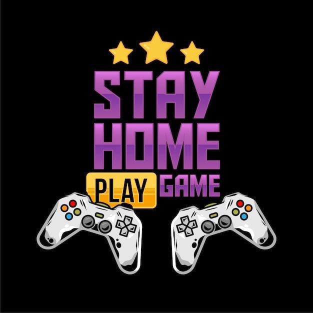 Kledingprintontwerp voor de gamer- en nerdcultuur met twee gamepad-joysticks voor het spelen van videogames en met het bericht in quarantaine-isolatiestijl