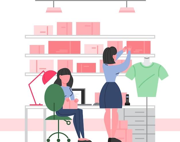 Kledingwinkel interieur. bijkeuken in een modeboetiek. kleding voor mannen en vrouwen. kledingwinkelpersoneel. illustratie in. Premium Vector