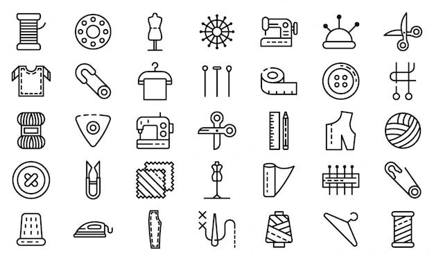 Kleermakers geplaatste pictogrammen, schetst stijl Premium Vector