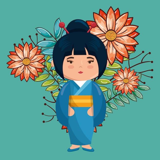 Klein japans meisje kawaii met bloemen karakter Premium Vector