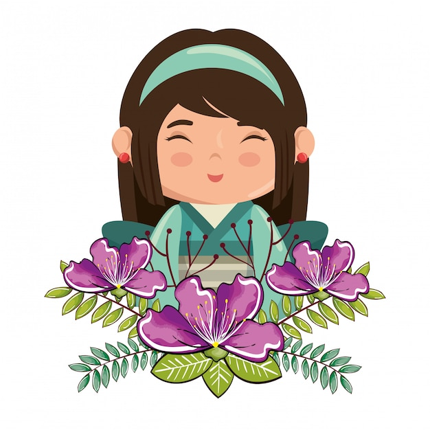 Klein japans meisje kawaii met bloemen karakter Gratis Vector