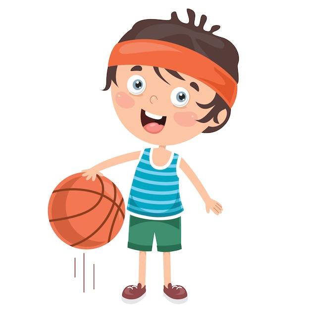 Klein kind basketbal spelen Premium Vector