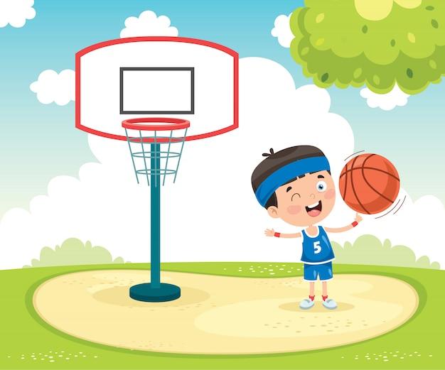 Klein kind buiten basketbal spelen Premium Vector