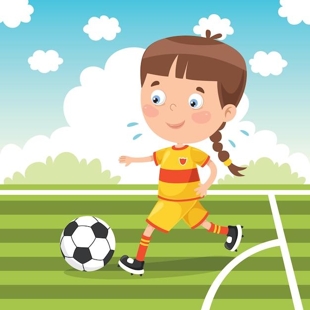 Klein kind buiten voetballen Premium Vector