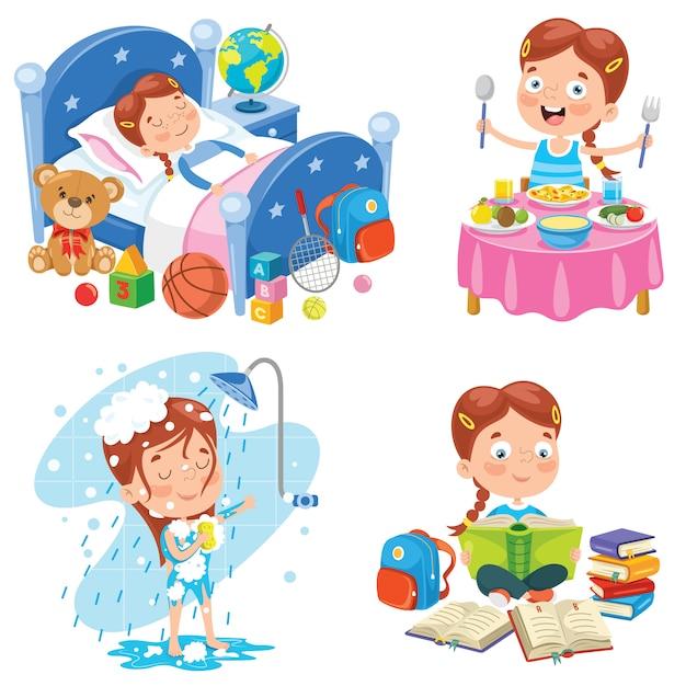 Klein kind dagelijkse routine-activiteiten maken Premium Vector