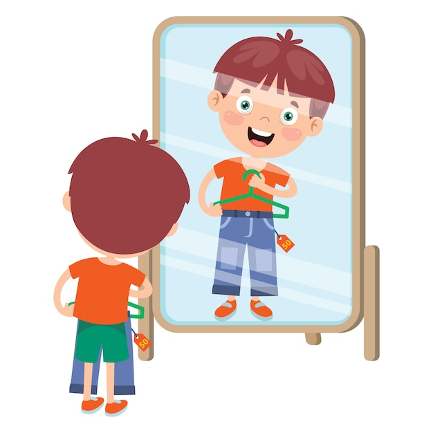 Klein kind en kleurrijke kleding Premium Vector