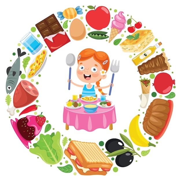 Klein kind heerlijk eten Premium Vector