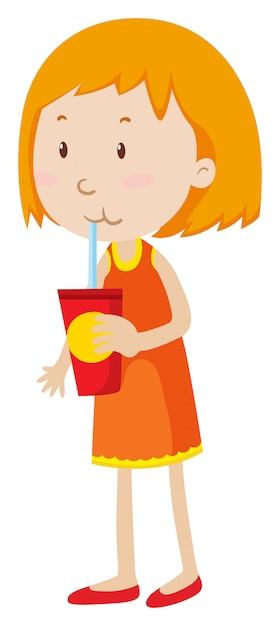 Klein meisje drinken uit een beker Gratis Vector