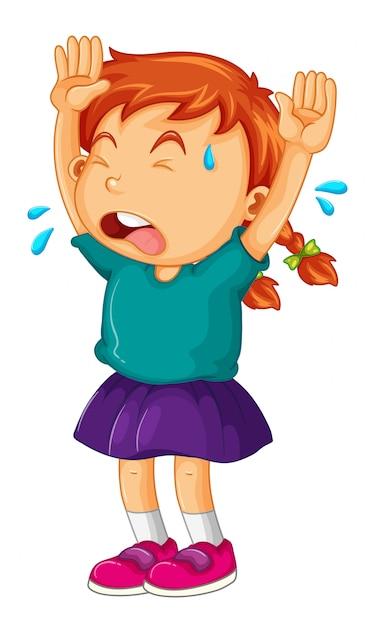Klein meisje huilen met haar armen omhoog Gratis Vector