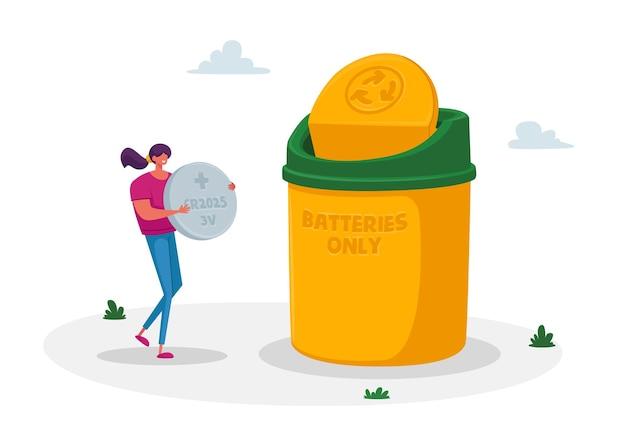 Klein vrouwkarakter dragen enorme tabletbatterij om afval in de afvalbak te gooien voor recycling Premium Vector