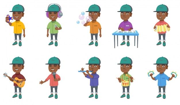 Kleine afrikaanse jongen tekenset Premium Vector