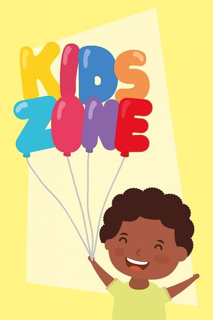 Kleine afro jongen met kinderen zone ballonnen helium Premium Vector