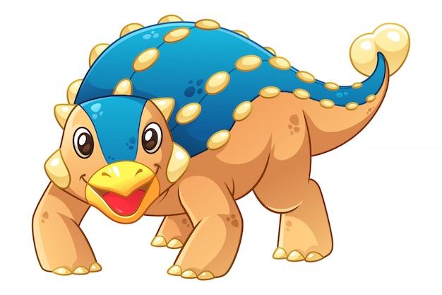 Kleine ankylosaurus cartoon afbeelding Premium Vector