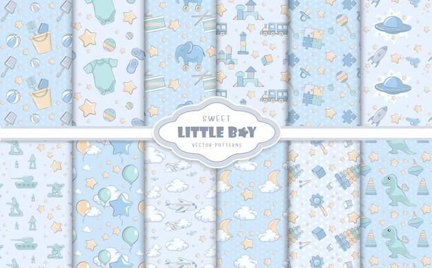 Kleine babyjongen blauwe patronen Premium Vector