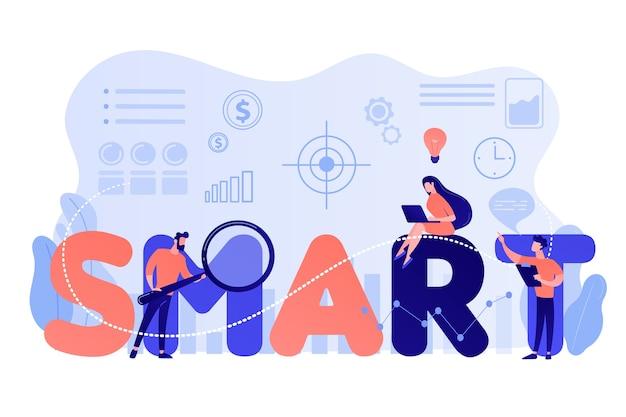 Kleine bedrijfsmensen die aan doelstellingen werken en op slim woord zitten. smart doelstellingen, objectieve vaststelling, meetbare doelstellingen ontwikkelingsconcept Gratis Vector