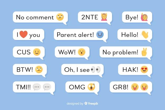 Kleine berichten met emoji's Gratis Vector