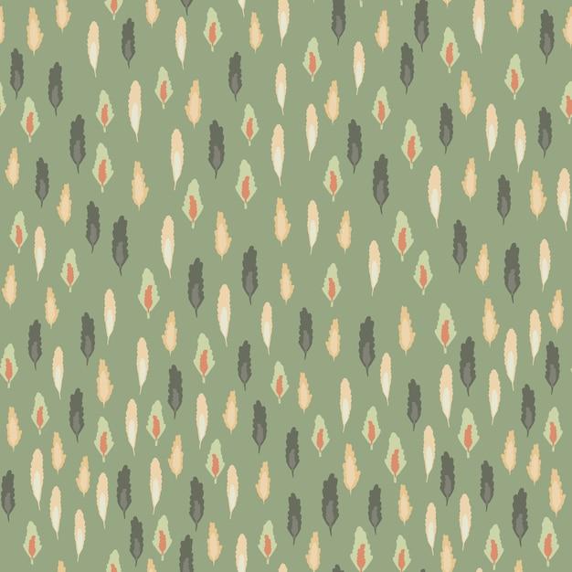 Kleine bladeren silhouetten naadloze patroon. bos thema achtergrond met zachte groene achtergrond. Premium Vector
