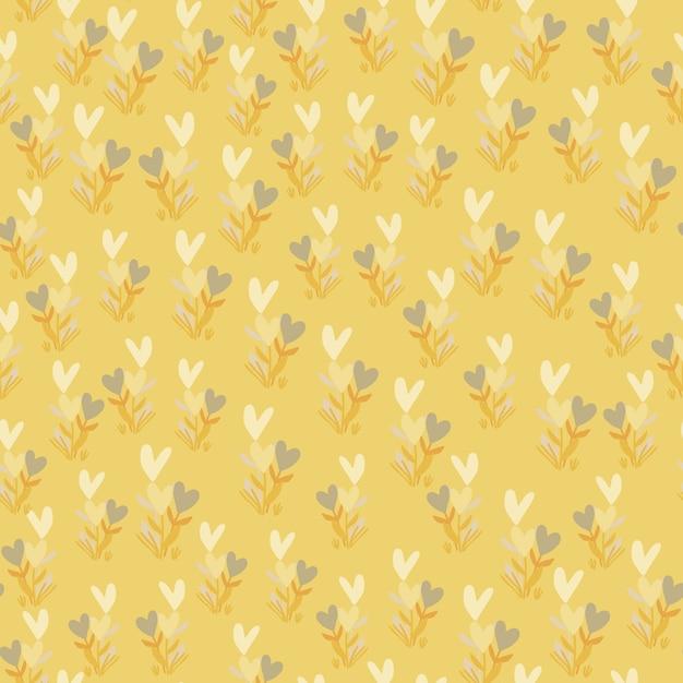 Kleine botanische takken met harten naadloos patroon. lichte pastel gele achtergrond met witte elementen. Premium Vector