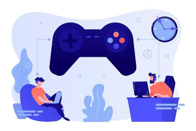 Kleine gamers die online videogames spelen, een enorme joystick en klok Gratis Vector