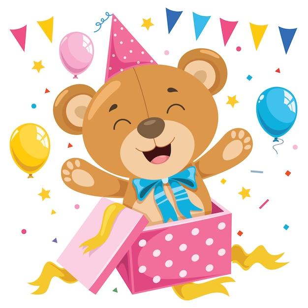 Kleine grappige teddybeer cartoon Premium Vector