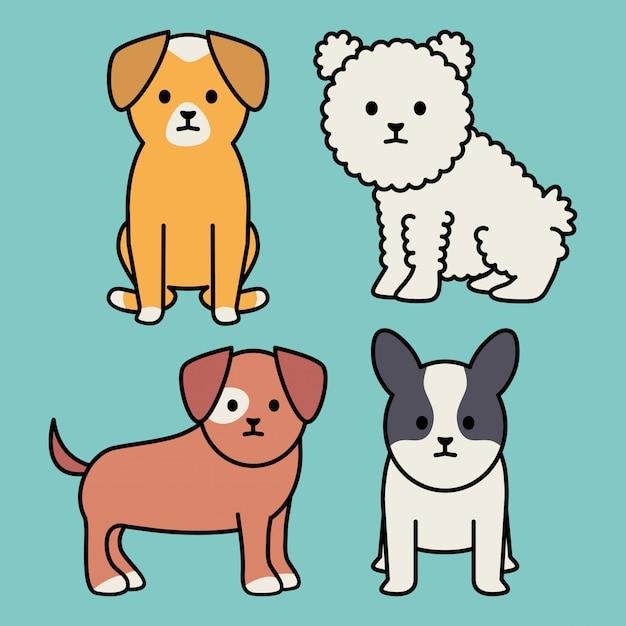Kleine honden adorabelen mascottes personages Gratis Vector
