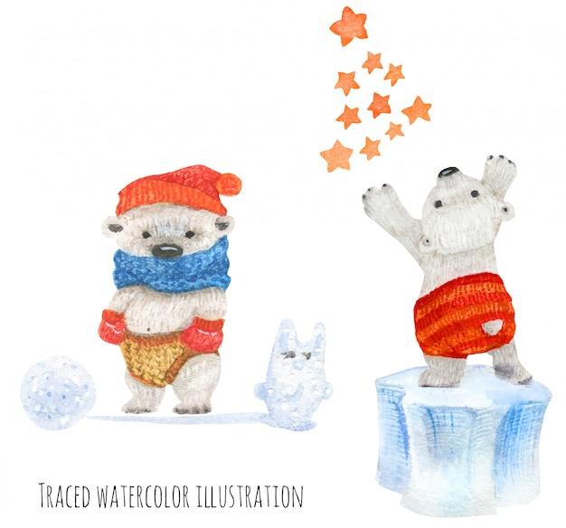 Kleine ijsberen in de winterpret Premium Vector
