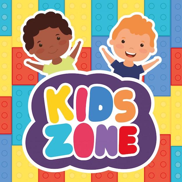 Kleine interraciale jongens met kinderen zone belettering Premium Vector