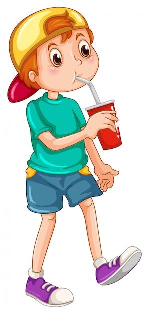 Kleine jongen drinken uit een beker Gratis Vector