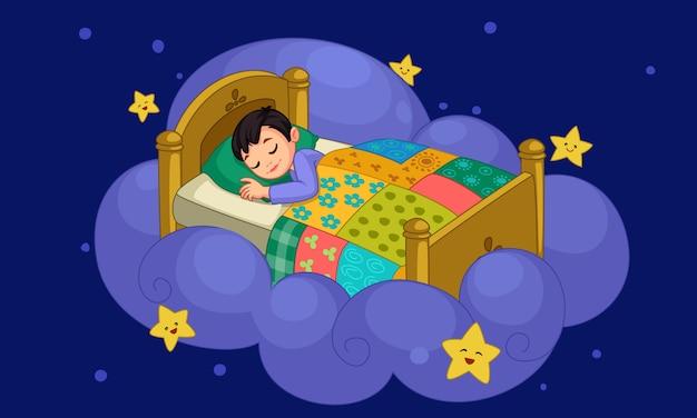 Kleine jongen droomt Premium Vector
