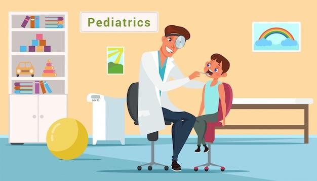 Kleine jongen en arts in kindergeneeskunde kantoor vlakke afbeelding Premium Vector