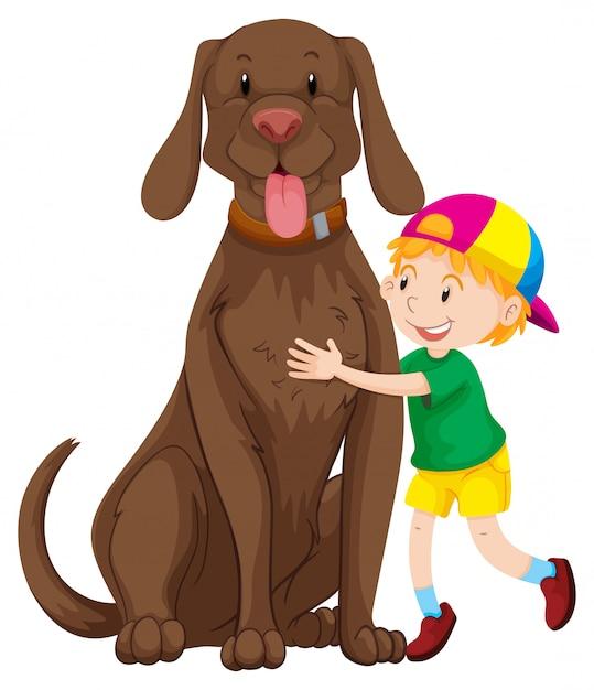 Kleine jongen en grote hond Gratis Vector