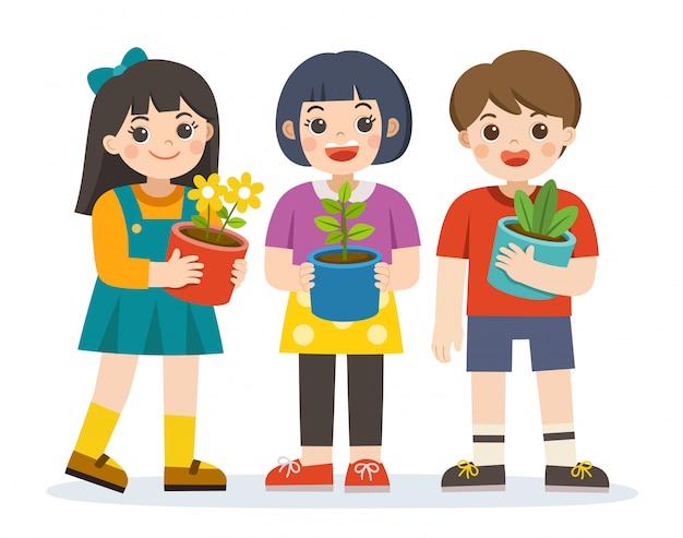 Kleine jongen en meisjes houden plant en bloempot voor zich in de armen. red de aarde. fijne aarde dag. groene dag. ecologie concept. geïsoleerde vector. Premium Vector