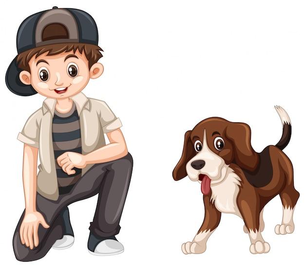 Kleine jongen en schattige beagle hond Premium Vector