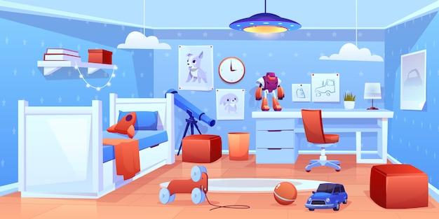 Kleine jongen gezellige slaapkamer interieur illustratie Gratis Vector