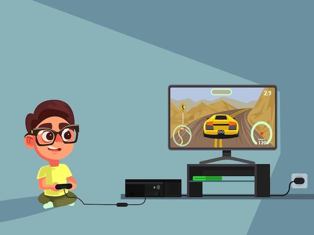 Kleine jongen karakter spelen van videogame. Premium Vector