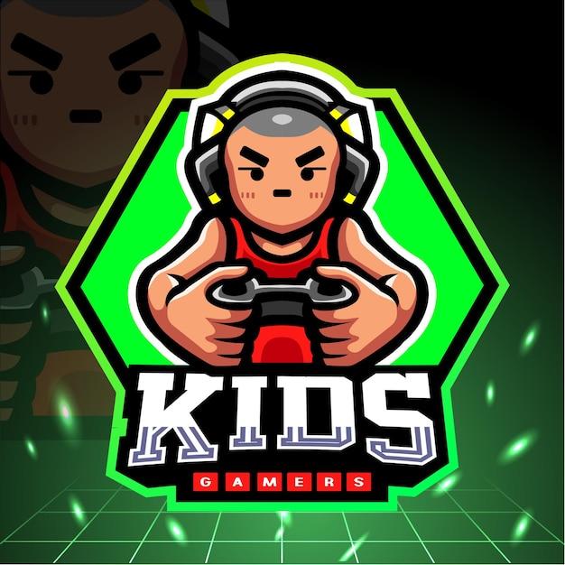 Kleine jongen mascotte spelen. esport-logo Premium Vector