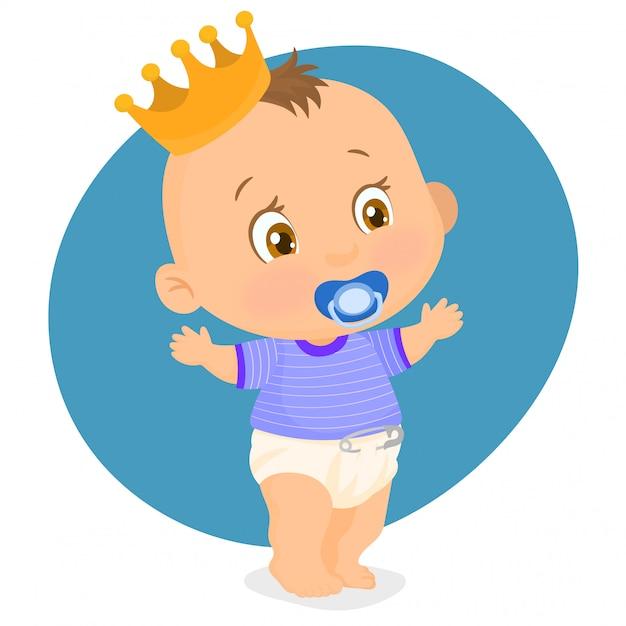 Kleine jongen met een kroon op zijn hoofd Premium Vector