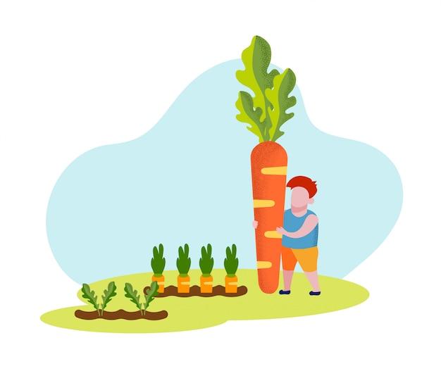 Kleine jongen met enorme wortel in handen. vector. Premium Vector