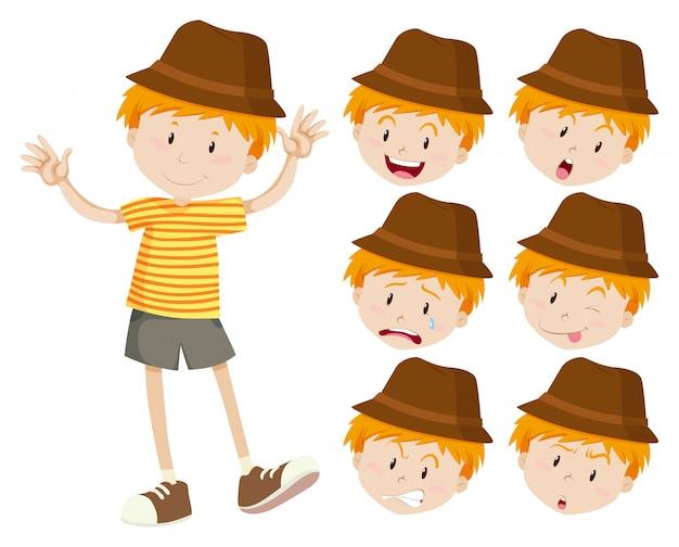 Kleine jongen met verschillende emoties Gratis Vector