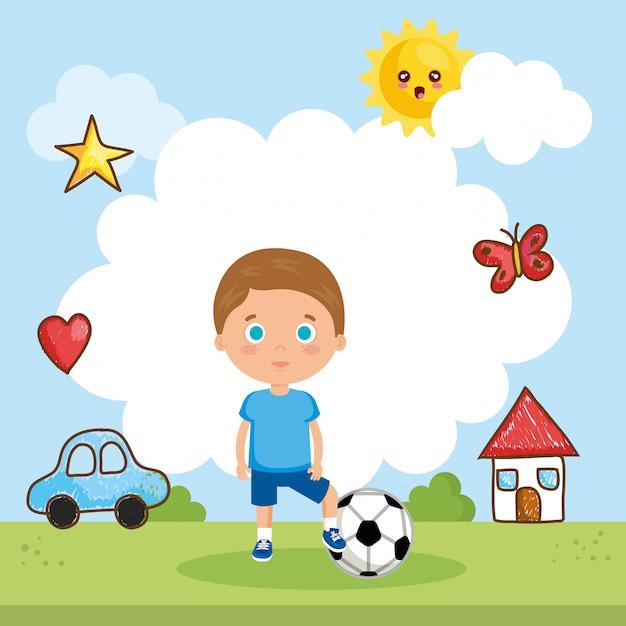 Kleine jongen spelen op het park Gratis Vector