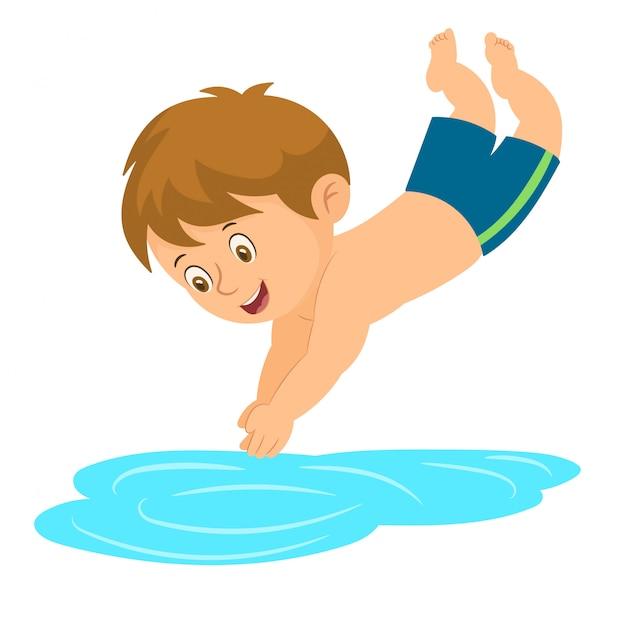Kleine jongen springen in het zwembad Premium Vector
