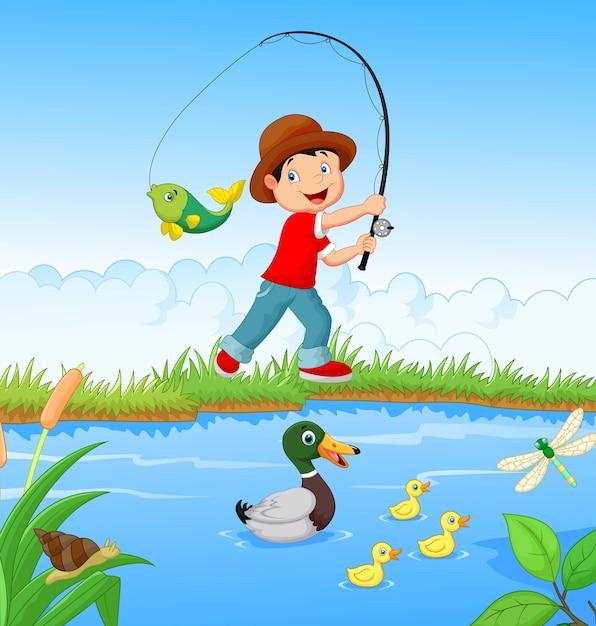 Kleine jongen vissen Premium Vector