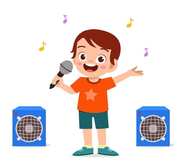 Kleine jongen zingt een prachtig lied op het podium Premium Vector