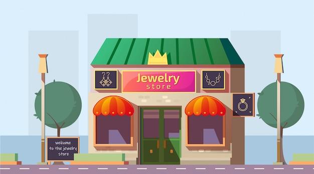 Kleine juwelierszaak bouwen cartoon vector Gratis Vector