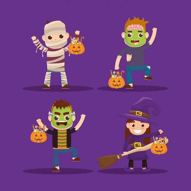 Kleine kinderen met vermomde karakters Gratis Vector