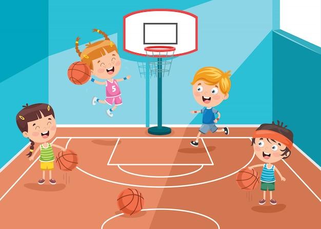 Kleine kinderen spelen basketbal Premium Vector