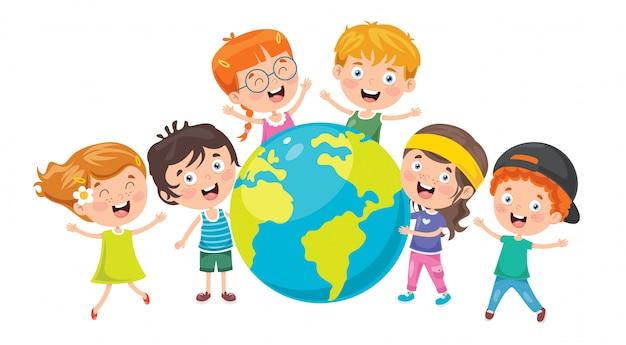 Kleine kinderen spelen met globe Premium Vector
