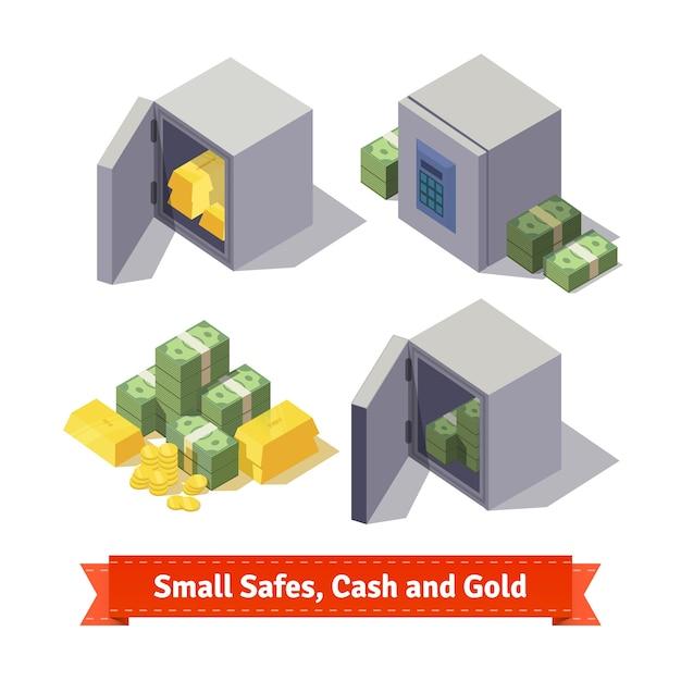Kleine kluisjes met gouden staven en contant geld Gratis Vector