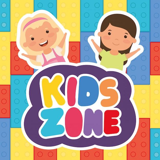 Kleine meisjes met kinderen zone belettering Premium Vector